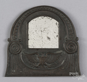 Small embossed copper mirror