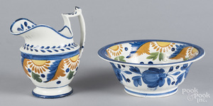 Pearlware pitcher and basin