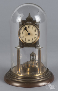 German brass desk clock with dome