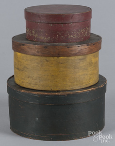 Three painted bentwood boxes
