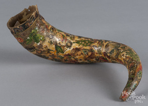 Decoupage decorated powder horn