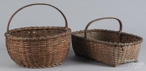 Two split oak baskets