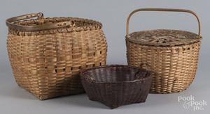Three New England woven baskets