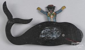 Folk art painted wood mechanical toy