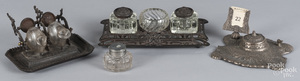 Four Victorian inkwells