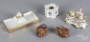 Three porcelain inkwells