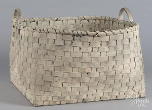 Large white painted basket
