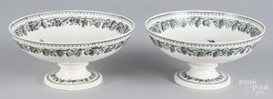 Pair of Creil porcelain footed compotes
