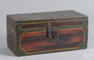New England painted pine lock box