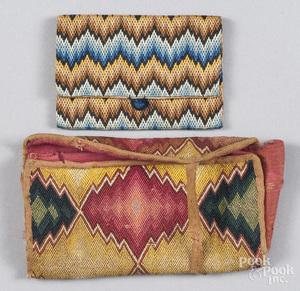 Two flame stitch pocketbooks