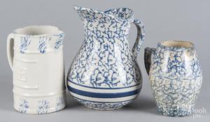 Three blue and white spongeware pitchers