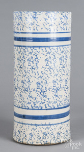 Blue and white spongeware umbrella stand