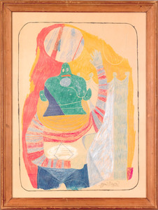 Byron Browne (American, 1907-1961), crayon on pap