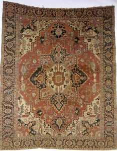 Heriz carpet, ca. 1900, with a large central red m