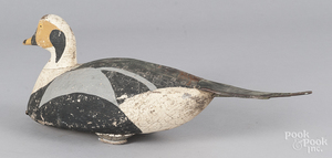 Unusual carved and painted pintail duck decoy