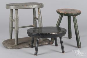 Three painted foot stools