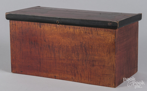 Tiger maple and mahogany inlaid valuables box