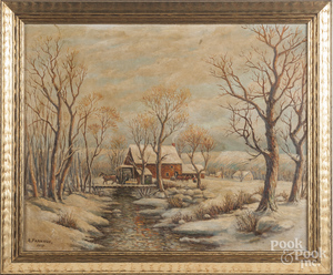Oil on canvas winter landscape