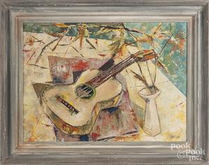 Pier Sassu oil on canvas guitar still life