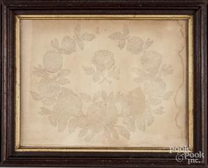 Victorian pinprick flower wreath