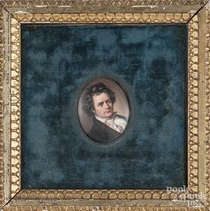 Miniature portrait on porcelain of a gentleman