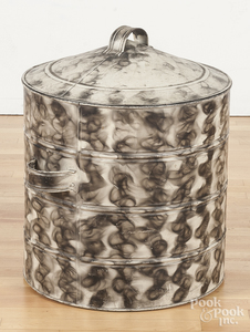 Large smoke decorated tin lidded canister
