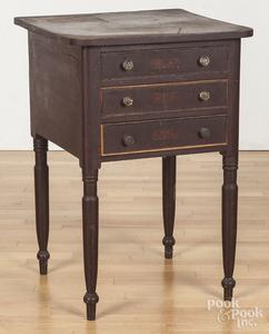Pennsylvania painted pine three-drawer stand