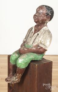 Painted Black Americana cement fishing boy