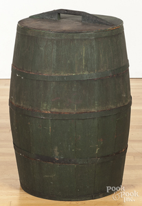 Painted lidded barrel