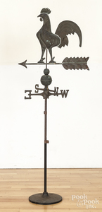 Copper rooster weathervane on stand