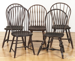 Five bowback Windsor chairs