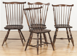 Four Pennsylvania combback Windsor chairs
