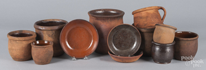 Twelve pieces of Pennsylvania redware