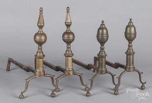 Two pairs of brass andirons, together with tools