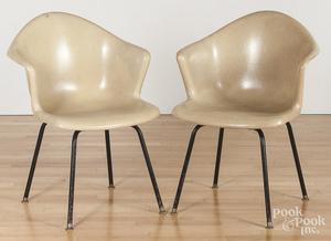 Pair of two mid-century modern fiberglass chairs