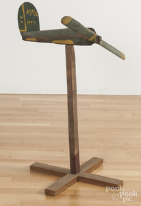 Painted wood and tin airplane weathervane fragment