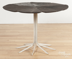 Unusual wood and iron patio table