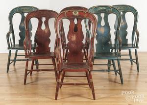 Set of six Odd Fellows lodge chairs
