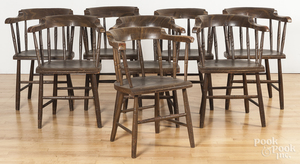 Set of eight painted barrelback lodge chairs