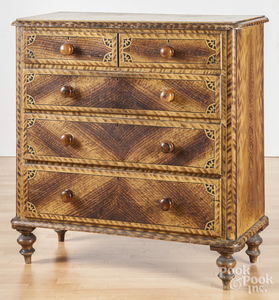 Painted pine cottage chest of drawers