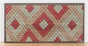 Framed hooked rug on burlap