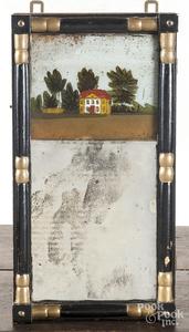 Ebonized Sheraton eglomise mirror
