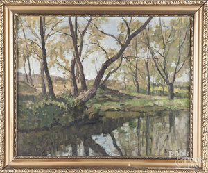 Continental oil on canvas river landscape