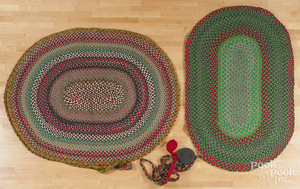 Two unfinished braided rugs