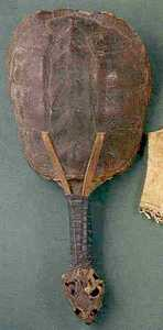 Iroquois rattle, 19th c., made from a turtle shell