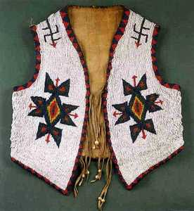 Plains Indian beaded vest, ca. 1890, with red, yel