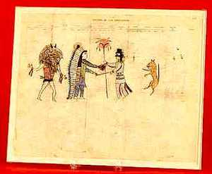 Plains Indian ledger drawing, late 19th c., attrib