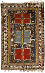 North East Caucuses rug, ca.1900, with blue and re