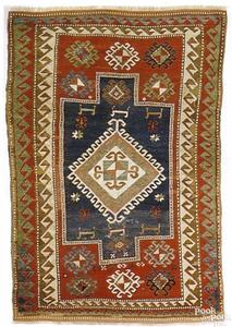 Kazak prayer rug, ca. 1875, with a central ivory m
