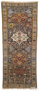 Shirvan Akstafa runner, 19th c., with 3 central me